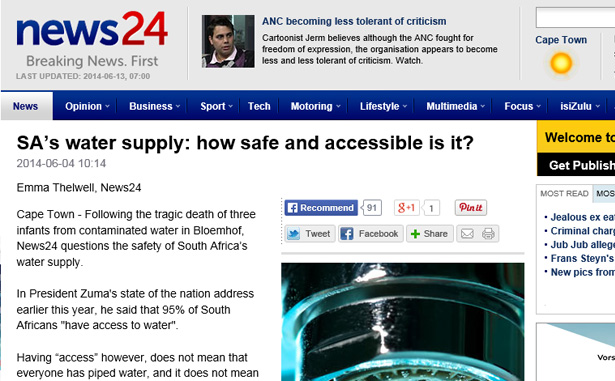 News-24 On South African municipalities And water treatment.