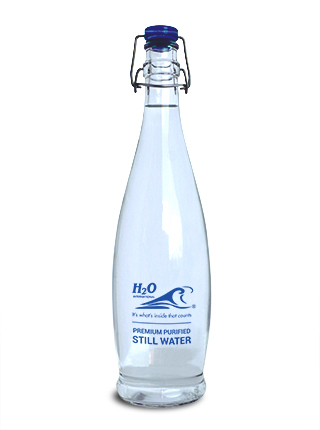 Glass Swingtop Bottle with H2O Branding – 1 litre – Still